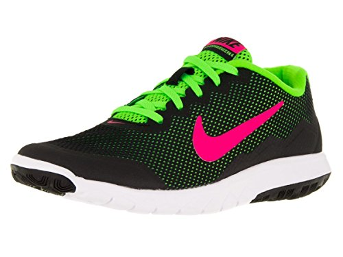 Nike Women\u0026#39;s Flex Experience Rn 4 Black/Pink Blast/Electric Green/White Running Shoe 7 Women US