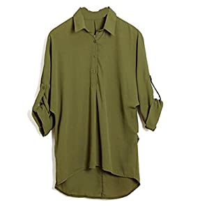 Womens Lapel V-Neck Foldable Long Sleeve Irregular Chiffon Shirt Blouse Tops Green 5XL