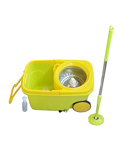 Vpsk Magic Spin Mop With Big Wheels And Stainless Steel Spinner