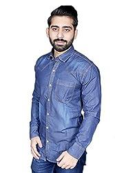 Strak Men's Cotton Solid Party Shirt (DS765345_44_X-Large_Blue)