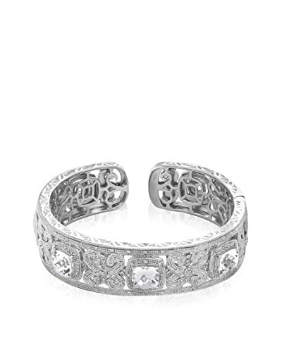 TerraFina 12 Cttw Art Deco Style Sterling Silver and Rhodium Genuine Diamond and Created Sapphire Hi...