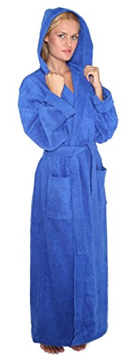 Arus Women's Pacific Style Full Length Hooded Turkish Cotton Bathrobe, M, Royal Blue (Hooded Terry Cloth Robe For Women compare prices)