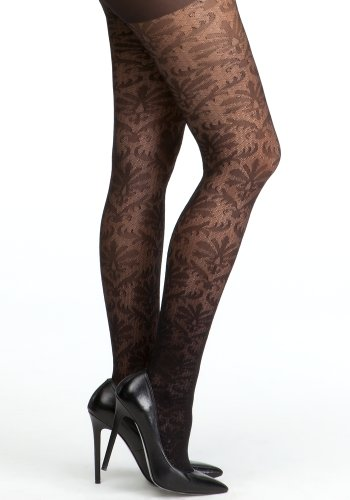 bebe Sheer Floral &Diamond Tights Accessories Blk-p/s
