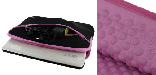 rooCASE Wonderful Bubble Neoprene Sleeve Case Protect against for Acer Ferrari One 11.6-Inch Netbook FO200-1799 (Negro / Pink)