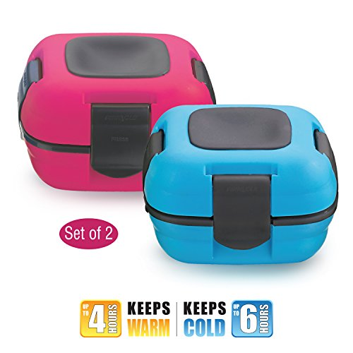 Pinnacle Thermoware Insulated Lunch Box, Blue/Pink (Set of 2) (Insulated Lunch Container compare prices)