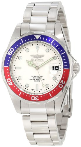 Invicta Men's Pro Diver SQ 8933 Silver Stainless-Steel Quartz Watch with White Dial