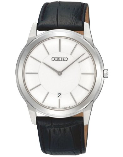 Seiko Men's Quartz Analogue Watch SKP373P1 with a White Dial and a Black Leather Strap
