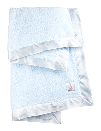 Little Giraffe Chenille Leaf Baby Blanket, Blue