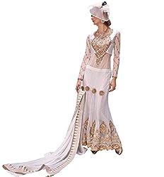 Justkartit Women's White Colour Zari & Resham Embroidery Net & Dhupion Long Floor Length Lehenga Style Wedding Wear Dress Material / Engagement Wear Dress Material (Latest Indian Ethnic Wear) / women designer suit (WITH DUAL BOTTOM)