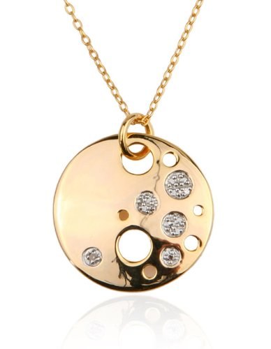 18k Gold Over Sterling Silver and Diamond Accent Openwork Solar Pendant