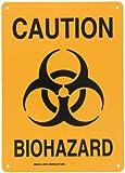 """Brady 25781 Plastic Biohazard Sign, 14"""" X 10"""", Legend """"Caution Biohazard (with Picto)"""""""