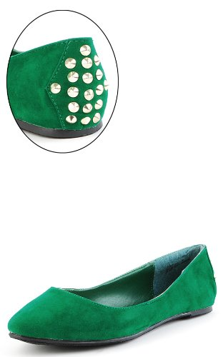 Jump32 Spike Studded Back Suede Flats GREEN