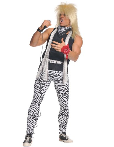 Men's 80's Metal Band Costume. Includes shirt, pants, keytar belt and bandanas. Add a wig.