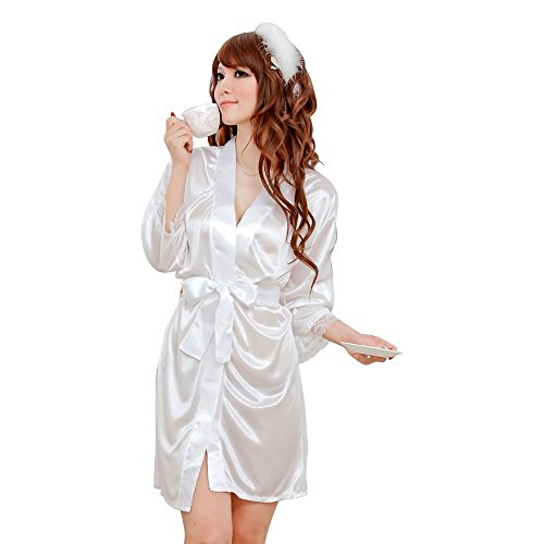 Evana Hot Satin Nightwear Sleepwear Nighty Babydoll (White)
