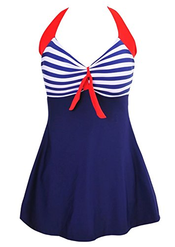 Spring fever Retro 50's Pin Up Swimsuit One Piece Skirtini Cover Up for Women Blue Stripes M (US8-10)