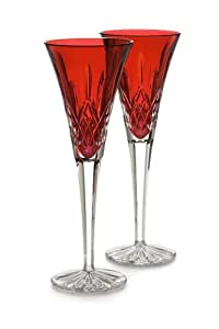 Waterford crystal lismore crimson flute pair champagne flutes champagne glasses - Waterford colored wine glasses ...