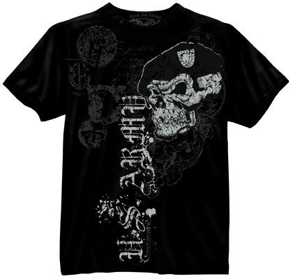BLACK INK US ARMY SKULL WITH BERET T-SHIRT Size Large