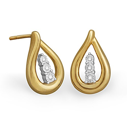 Sterling Silver Round Diamond Yellow Plated Tear Drop Earring (0.03 cttw)