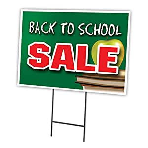 amazon com back to school sale 12 quot x16 quot yard sign stake outdoor plastic window patio lawn