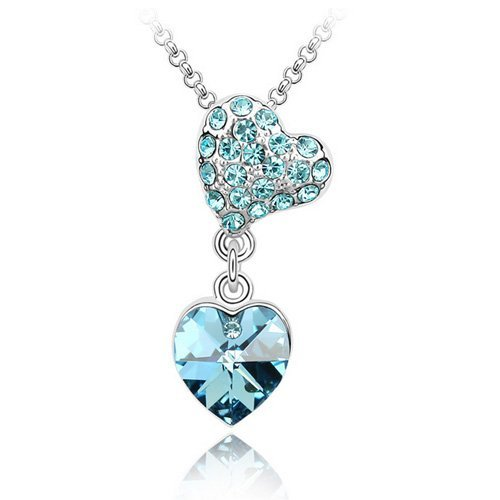Top Value Jewelry - Unique 18K Gold Plated Sapphire Pave Crystal Heart Charm Pendant Necklace, Free 18 Inch Chain