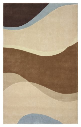 """5' x 8' Rectangular 828 International 3-0550-9958 Ivory/Brown/Blue Color Hand Tufted Chinese """"Mirage Collection"""" Wave Design Rug"""