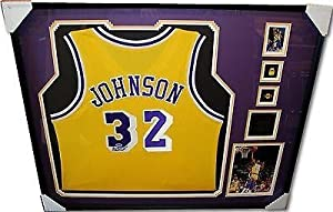 Magic Johsnon Signed Autograph Jersey Custom Framed Los Angeles Lakers - PSA DNA...