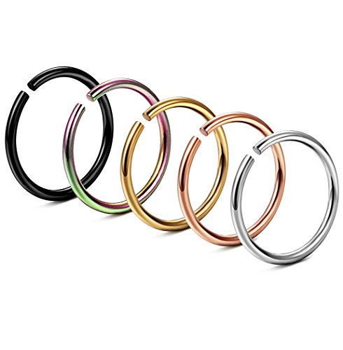 FIBO STEEL 20G 5PCS Stainless Steel Body Jewelry Piercing Nose Ring Hoop Nose Piercing (Hoop Labret Rings compare prices)