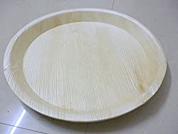 Perfect Disposable Party Plates- Areca leaf plates - Palm leaf plates - 100% Natural eco friendly plates - Bio degradable Round Plate (V004, Natural , 10 Inch) Pack of 20 plates