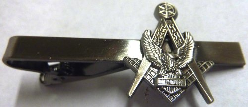 Masonic Biker Eagle Motorcycle Antique Nickel Tie Bar Clip