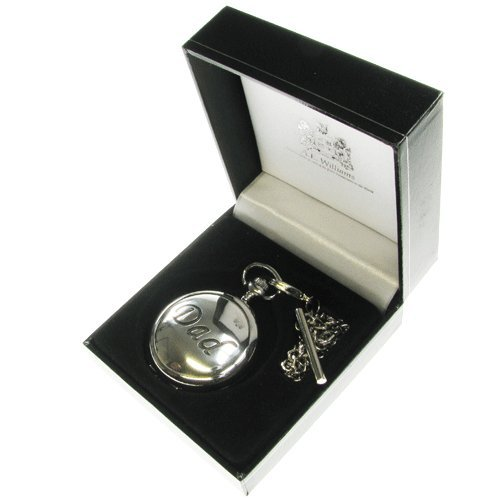 Dad's Birthday Gift, Engraved 70th Birthday Mother of Pearl Face Pocket Watch with Solid Pewter 'Dad' Case Front in a Quality Presentation Box, Gift for Dad's Birthday