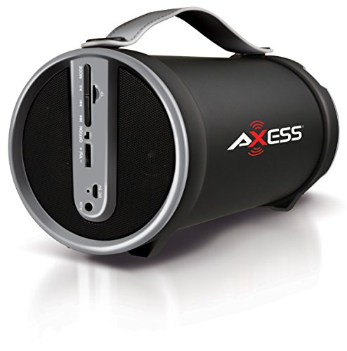 """Axess SPBT1033-GY Portable Bluetooth Indoor/Outdoor 2.1 Hi-Fi Cylinder Loud Speaker with SD Card, AUX and FM Inputs, 4"""" Sub In Grey Color"""