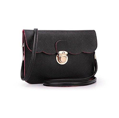 Borsa Familizo Elegant A tracolla in pelle delle donne pochette borsetta Tote borsa Hobo Messenger (Nero)