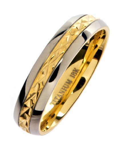 18K Gold Plated Grade 5 Titanium Wedding Ring Band Comfort Fit 5mm Size 4.5