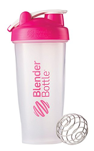 BlenderBottle Classic Loop Top Shaker Bottle, Clear/Pink, 28-Ounce Loop Top