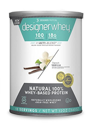 DESIGNER WHEY 100% Premium Whey Protein Powder, French Vanilla, 12 Ounce Canister