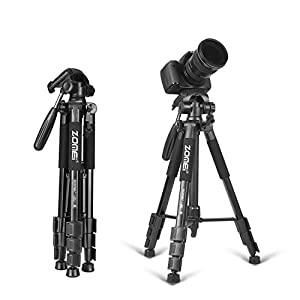 "Zomei 56"" 3-way Pan Head Lightweight Travel Tripod with Carrying Case for Video DSLR Cameras Nikon Canon"