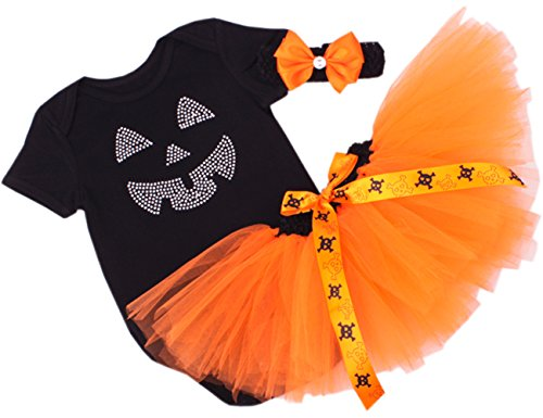 [CAKYE Baby Girl Halloween Costumes Infant My First Halloween Tutu Outfits (4PCs) (Small / 3-6 months, Pumpkin Face] (3-4 Halloween Costumes)