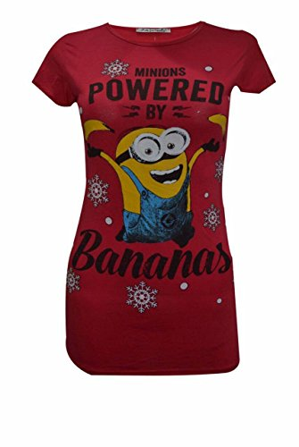 Donna novità Stampa Ragazze Natale Vintage Top T Shirt 268Ladies Xmas red minion banana M/L 44/46