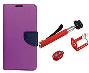 Novo Style Wallet Case Cover For SonyXperiaT2 Ultra Purple + Selfie Stick with Adjustable Phone Holder and Bluetooth Wireless Remote Shutter
