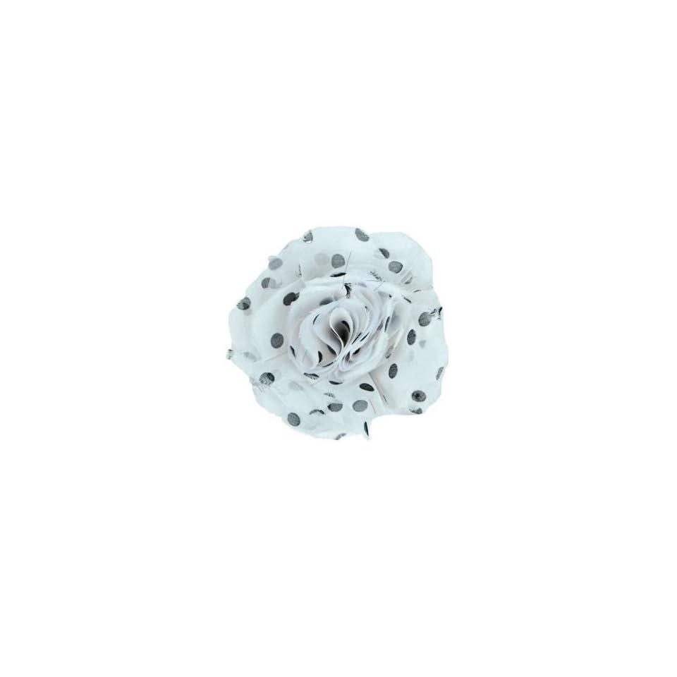 Capri Polka Dot Fabric Brooch Pin Hair Clip   White/ Black