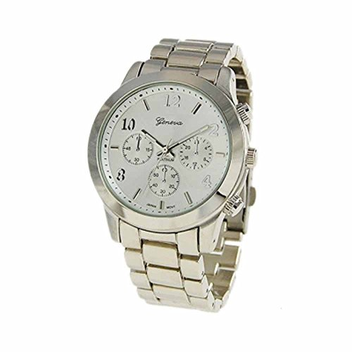 """The """"Boyfriend"""" Watch. Large Sized Ceramic Designer Style Fashion Watch Silver Band White Face"""