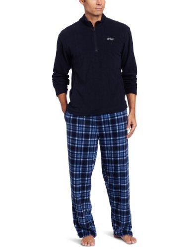 Intimo Men's Gift Set Quarter Zip Fleece Top With Printed Micro Fleece Pant Set, Navy, Medium