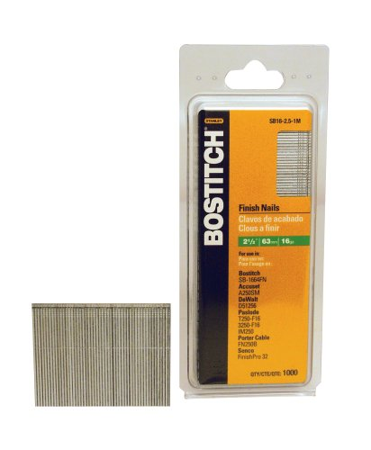 BOSTITCH SB16-2.5-1M 2-1/2-Inch-by-16-Gauge Bright Finish Nail, 1000 per Box