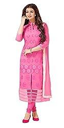 Classy Light Pink Colored Embroidered Chanderi Salwar Kameez
