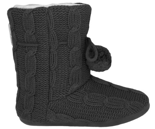 Cheap Capelli New York Soft Cable Knit Boot With Ties And Pom Trim Ladies Indoor Slipper (B005WUSOUG)