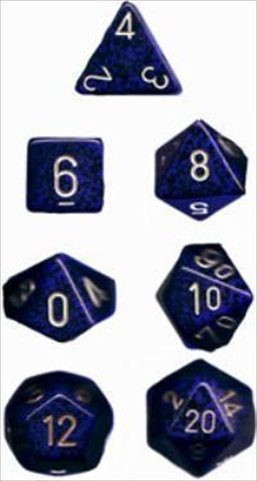 Chessex Manufacturing 25337 Golden Cobalt Speckled Polyhedral Dice Set Of 7 - 1