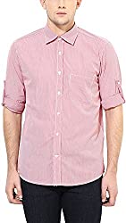 Y.U.V.I. Men's Cotton Regular Fit Casual Shirt (11112954-S, Red & White, Small)