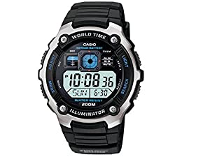 Casio Men's Silver-Tone Multi-Functional Digital Sport Watch Black AE2000W-1AV