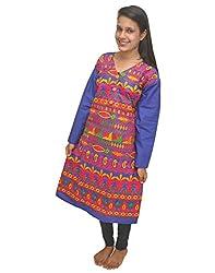 Baa Creation Women's Cotton A-Line Kurti (BAAKUT09_Blue_XX-Large)