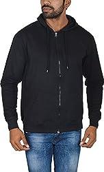 Le Beau Classics Men's Cotton Zipper Hoodies GR_010_ Black_L